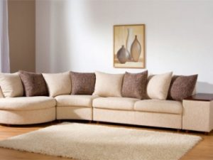 Перетяжка углового дивана на дому в Краснодаре